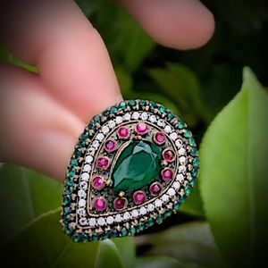 Other - EMERALD RUBY FINE ART RING Size 8.5 Solid 925/Gold